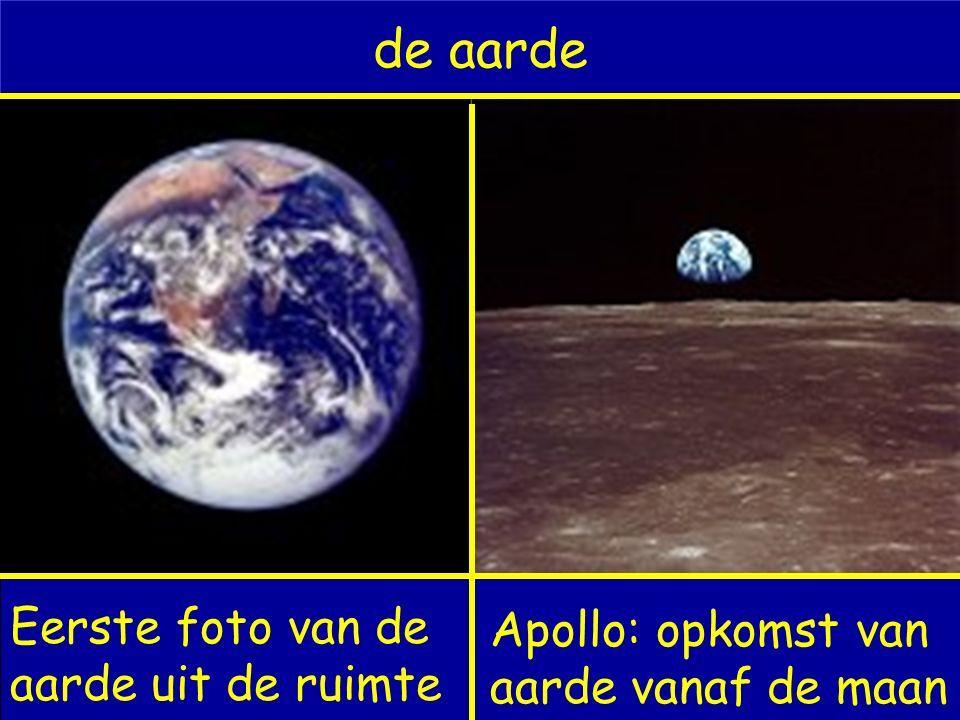 de aarde Eerste foto van de aarde uit de ruimte Apollo: opkomst van aarde vanaf de maan