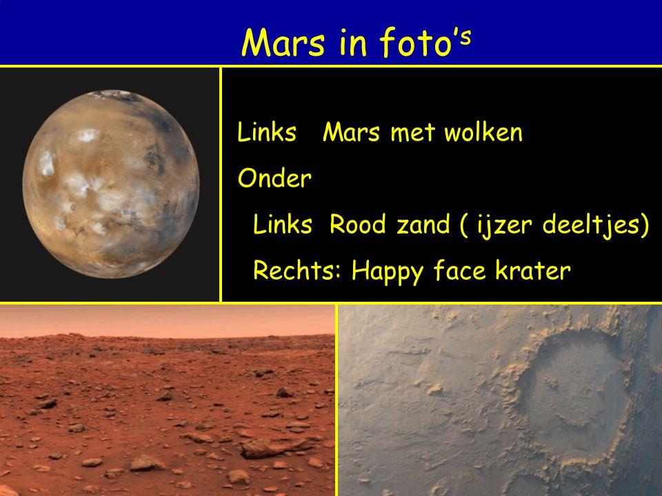 Mars in foto' s Links Mars met wolken Onder Links Rood zand ( ijzer deeltjes) Rechts: Happy face krater