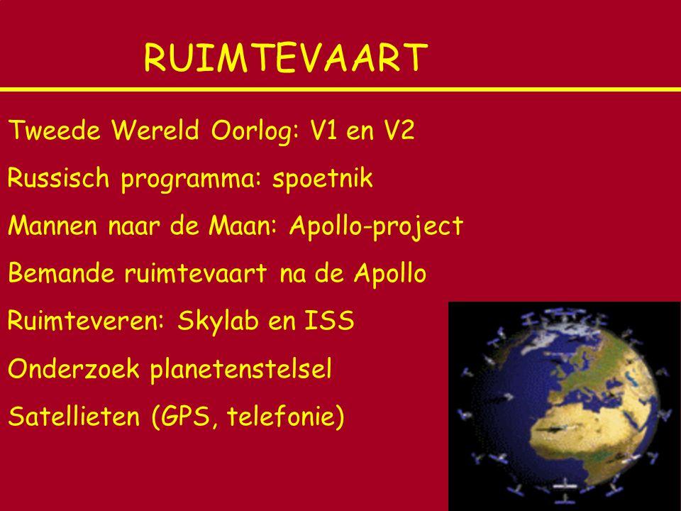 RUIMTEVAART Tweede Wereld Oorlog: V1 en V2 Russisch programma: spoetnik Mannen naar de Maan: Apollo-project Bemande ruimtevaart na de Apollo Ruimtever