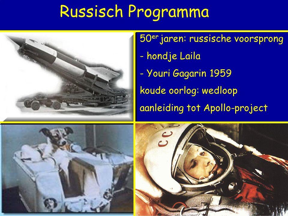 Russisch Programma 50 er jaren: russische voorsprong - hondje Laila - Youri Gagarin 1959 koude oorlog: wedloop aanleiding tot Apollo-project