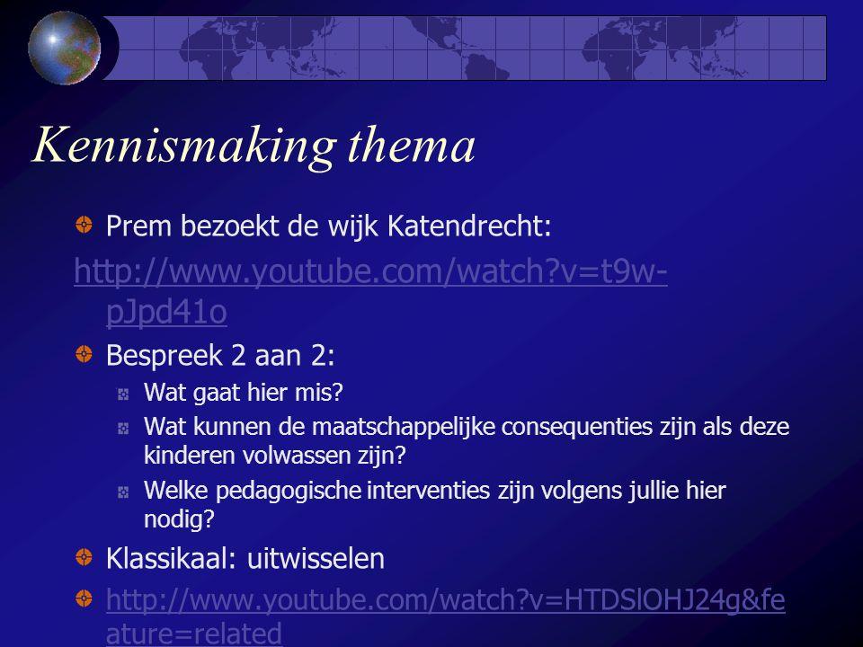 Kennismaking thema Prem bezoekt de wijk Katendrecht: http://www.youtube.com/watch?v=t9w- pJpd41o Bespreek 2 aan 2: Wat gaat hier mis.