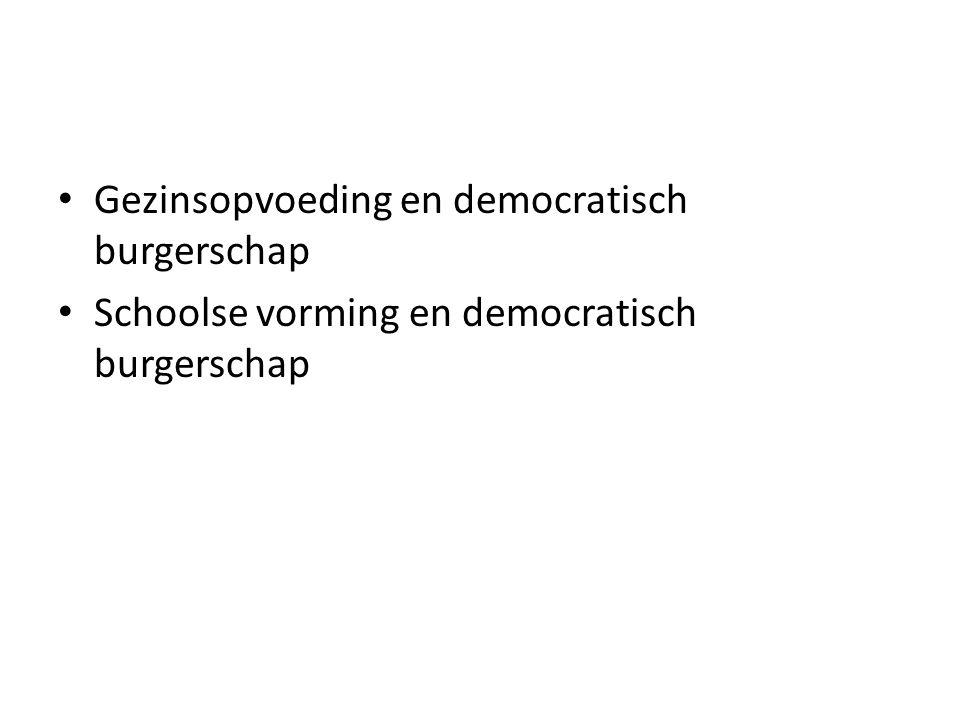 Gezinsopvoeding en democratisch burgerschap Schoolse vorming en democratisch burgerschap