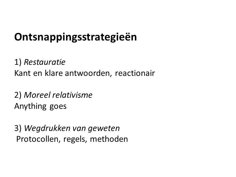 Ontsnappingsstrategieën 1) Restauratie Kant en klare antwoorden, reactionair 2) Moreel relativisme Anything goes 3) Wegdrukken van geweten Protocollen