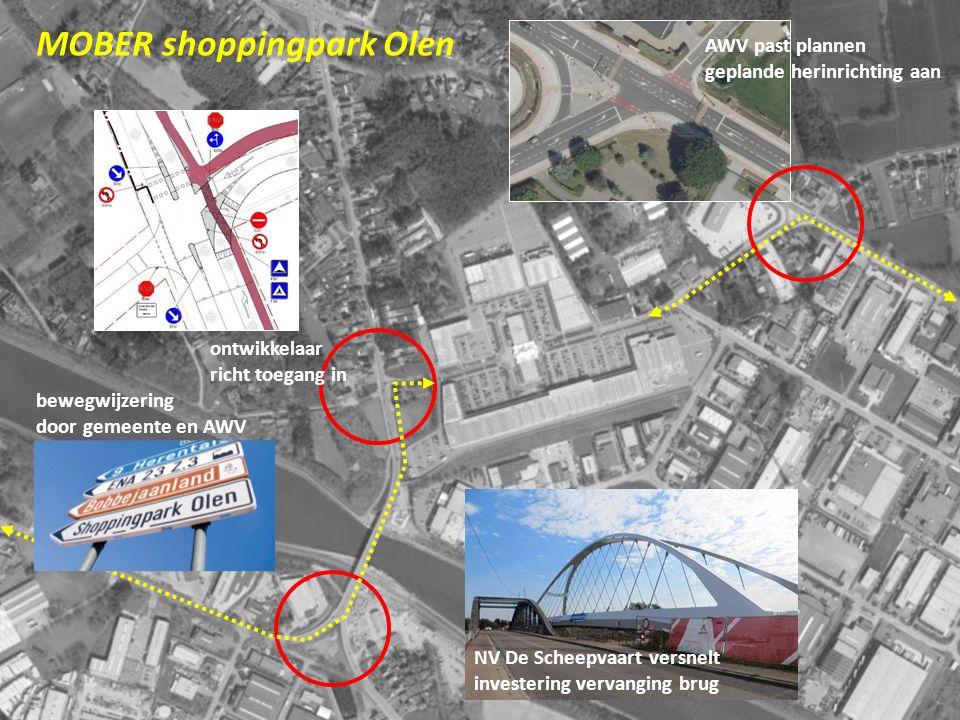 18 MOBER shoppingpark Olen NV De Scheepvaart versnelt investering vervanging brug AWV past plannen geplande herinrichting aan ontwikkelaar richt toega