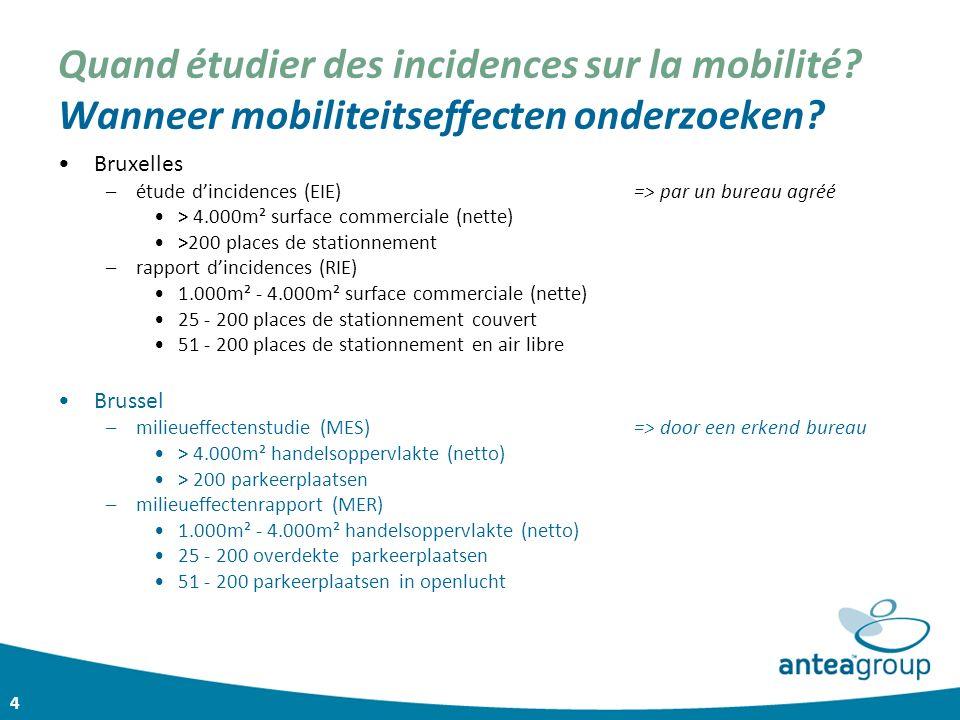 4 Quand étudier des incidences sur la mobilité? Wanneer mobiliteitseffecten onderzoeken? Bruxelles –étude d'incidences (EIE) => par un bureau agréé >