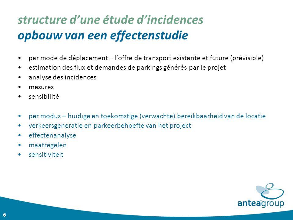 6 structure d'une étude d'incidences opbouw van een effectenstudie par mode de déplacement – l'offre de transport existante et future (prévisible) est