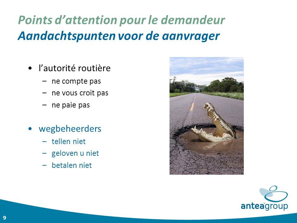 9 Points d'attention pour le demandeur Aandachtspunten voor de aanvrager l'autorité routière –ne compte pas –ne vous croit pas –ne paie pas wegbeheerd