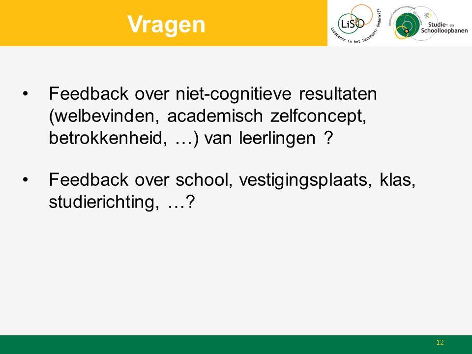 Vragen Feedback over niet-cognitieve resultaten (welbevinden, academisch zelfconcept, betrokkenheid, …) van leerlingen .