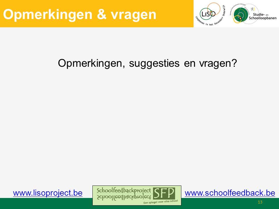 Opmerkingen & vragen Opmerkingen, suggesties en vragen 13 www.schoolfeedback.bewww.lisoproject.be
