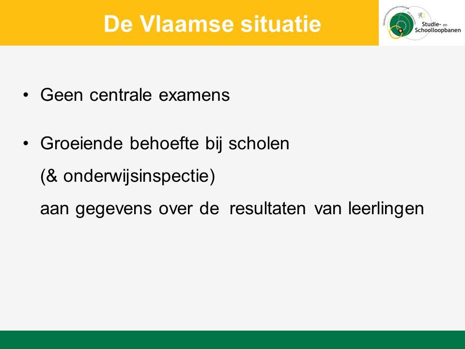 De Vlaamse situatie Geen centrale examens Groeiende behoefte bij scholen (& onderwijsinspectie) aan gegevens over de resultaten van leerlingen