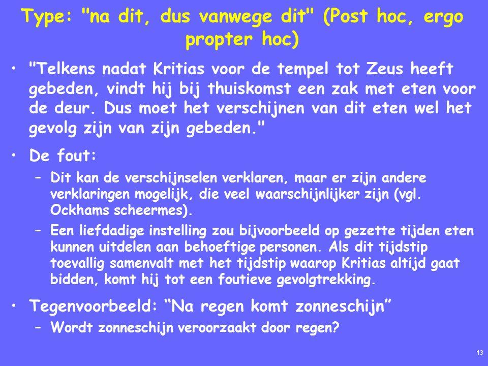 13 Type: na dit, dus vanwege dit (Post hoc, ergo propter hoc) Telkens nadat Kritias voor de tempel tot Zeus heeft gebeden, vindt hij bij thuiskomst een zak met eten voor de deur.