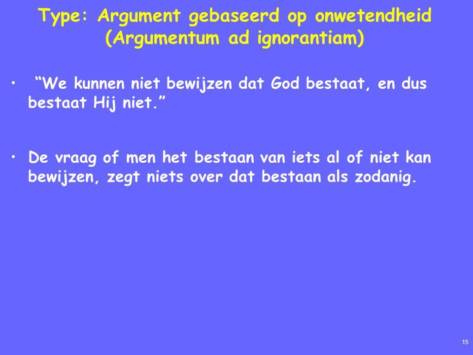 15 Type: Argument gebaseerd op onwetendheid (Argumentum ad ignorantiam) We kunnen niet bewijzen dat God bestaat, en dus bestaat Hij niet. De vraag of men het bestaan van iets al of niet kan bewijzen, zegt niets over dat bestaan als zodanig.