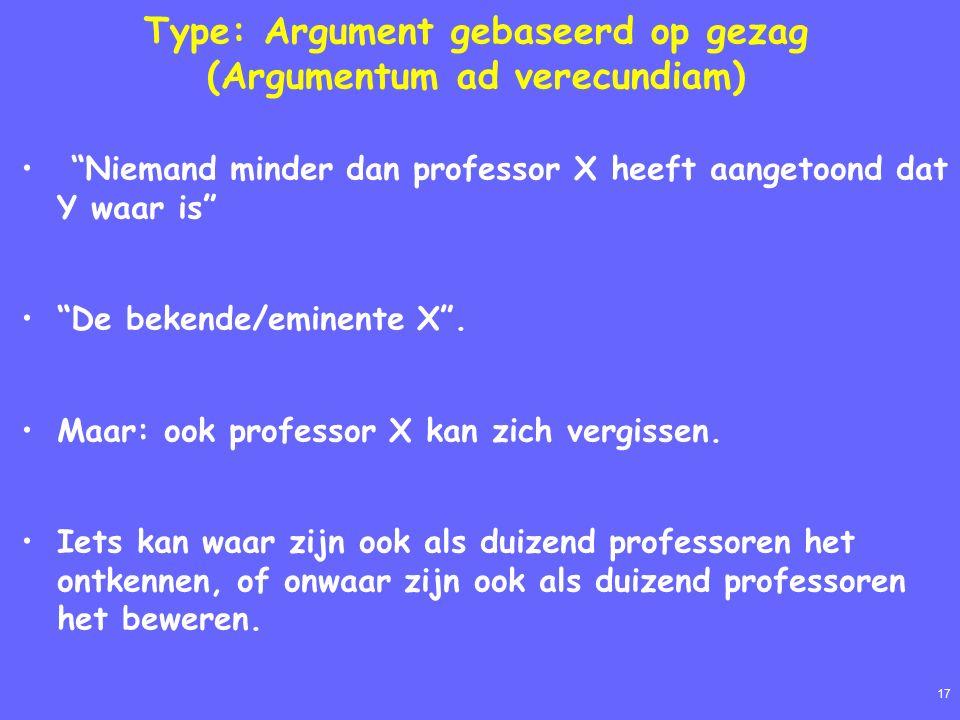 17 Type: Argument gebaseerd op gezag (Argumentum ad verecundiam) Niemand minder dan professor X heeft aangetoond dat Y waar is De bekende/eminente X .