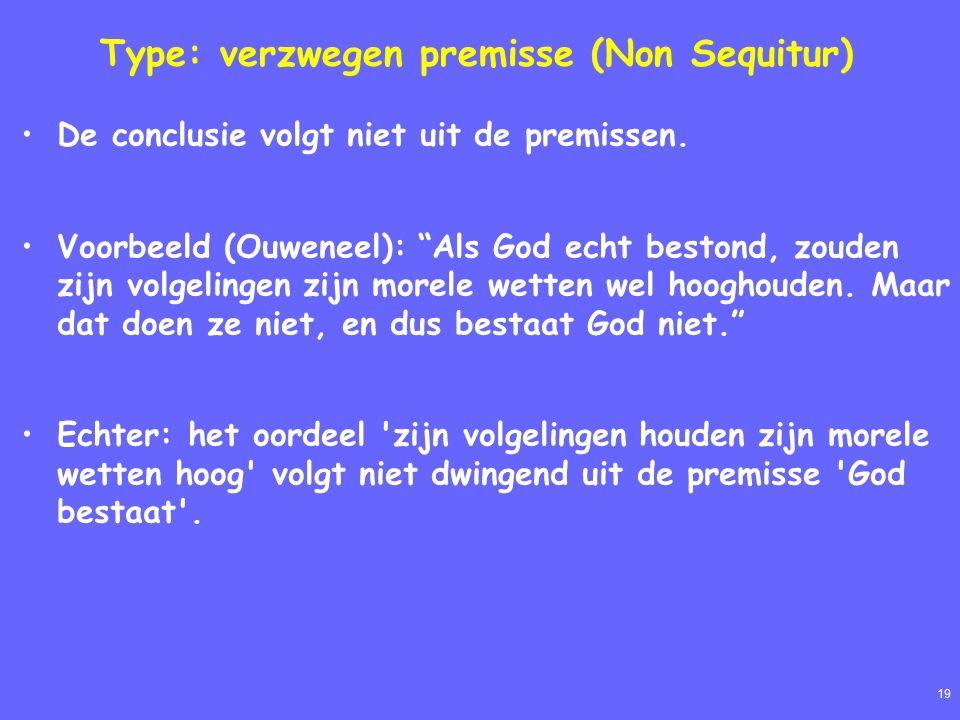 19 Type: verzwegen premisse (Non Sequitur) De conclusie volgt niet uit de premissen.