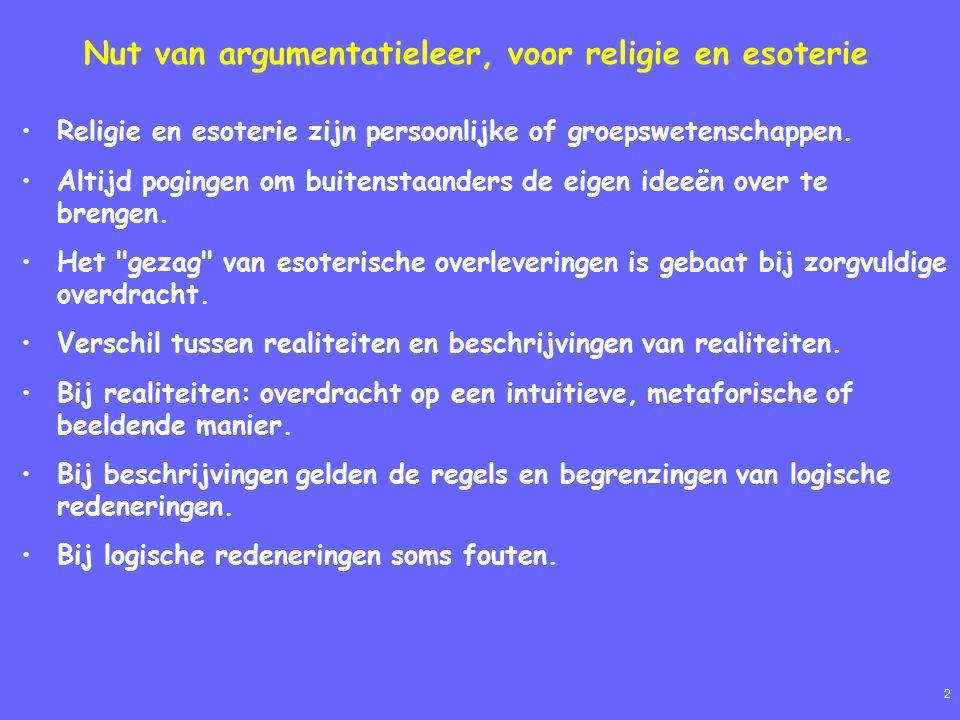 2 Nut van argumentatieleer, voor religie en esoterie Religie en esoterie zijn persoonlijke of groepswetenschappen.