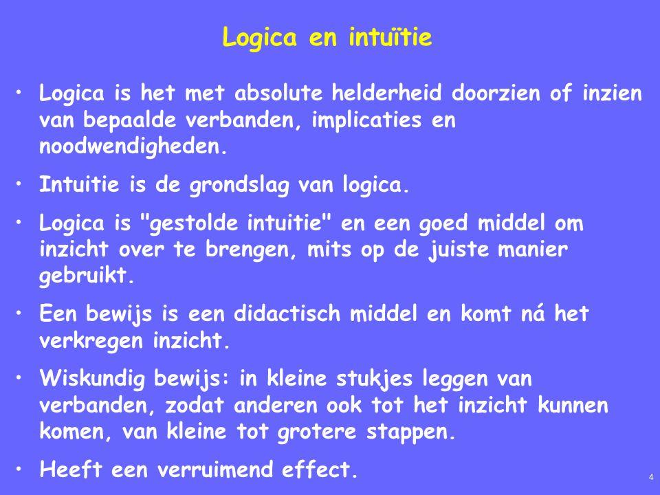 4 Logica en intuïtie Logica is het met absolute helderheid doorzien of inzien van bepaalde verbanden, implicaties en noodwendigheden.