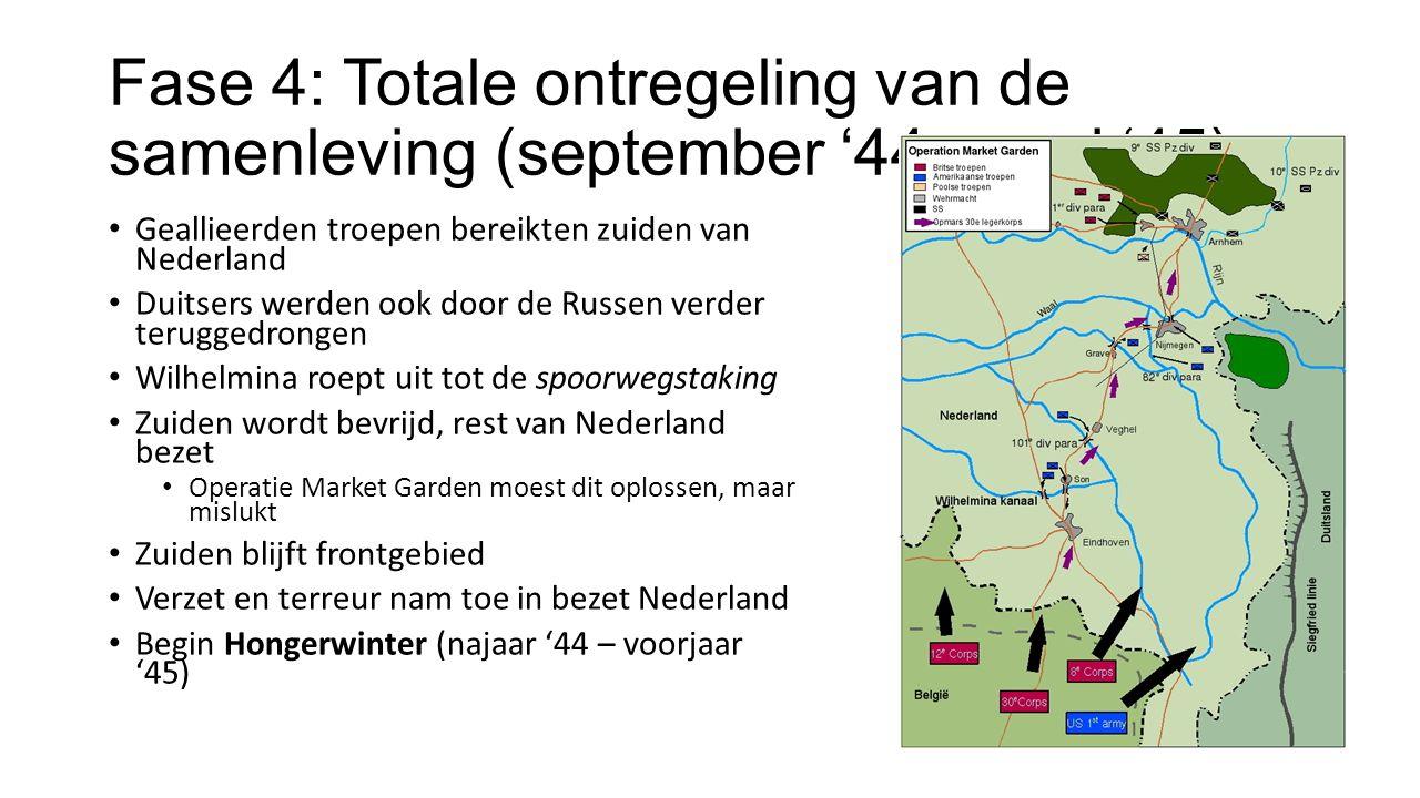 Fase 4: Totale ontregeling van de samenleving (september '44 – mei '45) Geallieerden troepen bereikten zuiden van Nederland Duitsers werden ook door de Russen verder teruggedrongen Wilhelmina roept uit tot de spoorwegstaking Zuiden wordt bevrijd, rest van Nederland bezet Operatie Market Garden moest dit oplossen, maar mislukt Zuiden blijft frontgebied Verzet en terreur nam toe in bezet Nederland Begin Hongerwinter (najaar '44 – voorjaar '45)