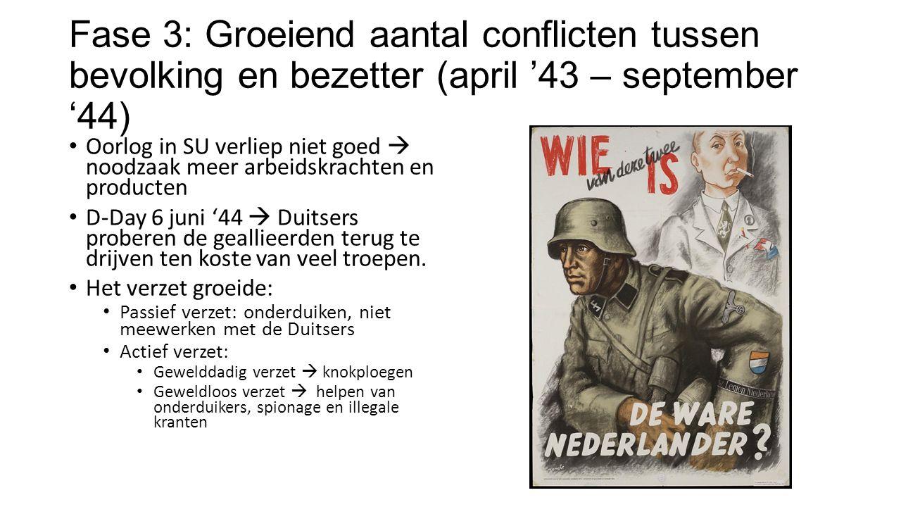 Fase 3: Groeiend aantal conflicten tussen bevolking en bezetter (april '43 – september '44) Oorlog in SU verliep niet goed  noodzaak meer arbeidskrachten en producten D-Day 6 juni '44  Duitsers proberen de geallieerden terug te drijven ten koste van veel troepen.