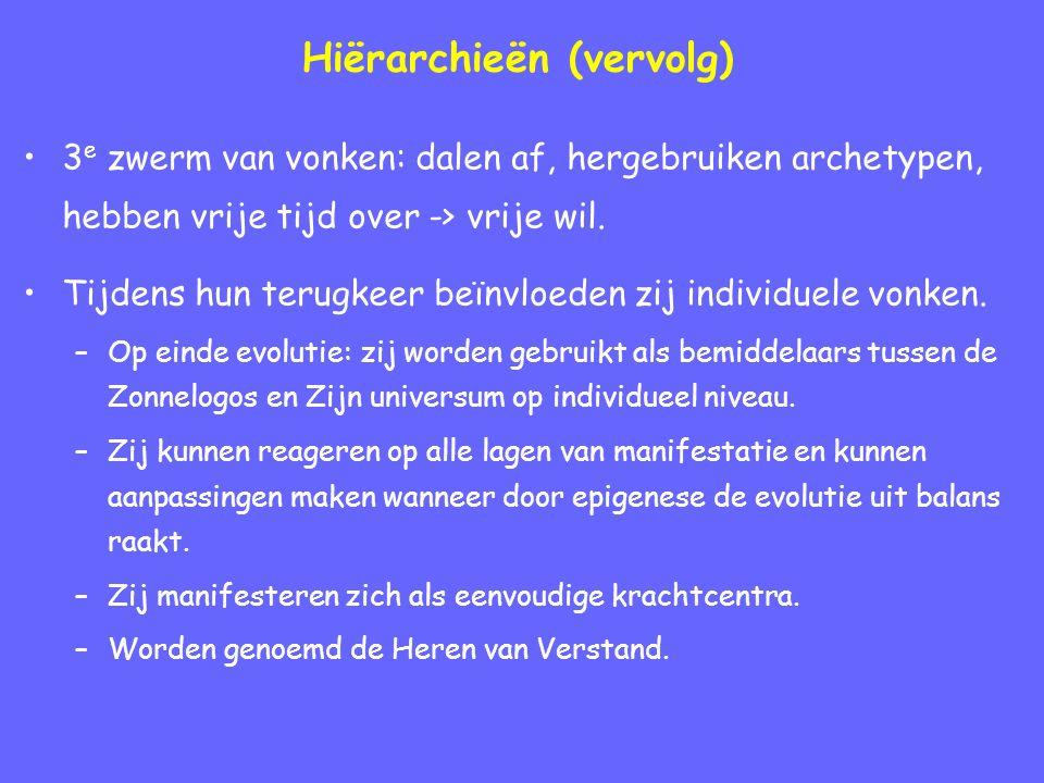 Hiërarchieën (vervolg) 3 e zwerm van vonken: dalen af, hergebruiken archetypen, hebben vrije tijd over -> vrije wil.
