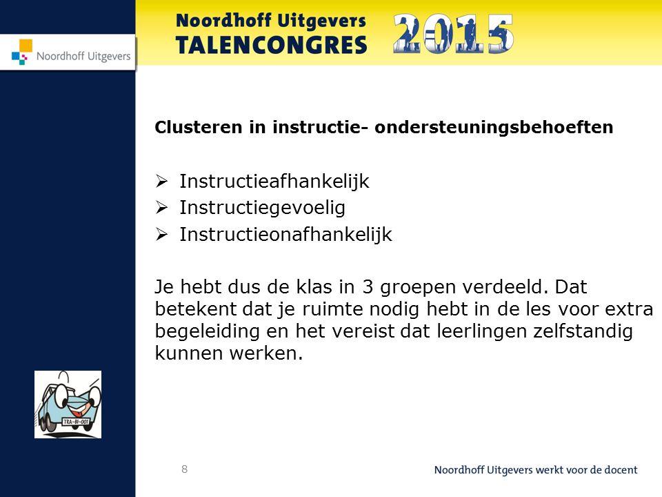 Clusteren in instructie- ondersteuningsbehoeften  Instructieafhankelijk  Instructiegevoelig  Instructieonafhankelijk Je hebt dus de klas in 3 groepen verdeeld.