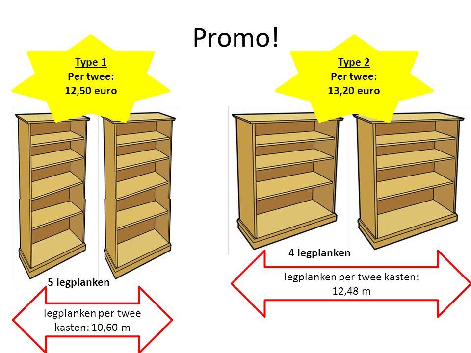Promo! Type 2 Per twee: 13,20 euro legplanken per twee kasten: 12,48 m Type 1 Per twee: 12,50 euro legplanken per twee kasten: 10,60 m 5 legplanken 4