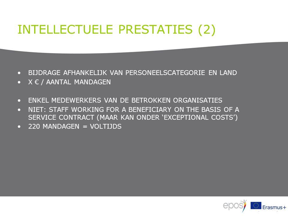 INTELLECTUELE PRESTATIES (2) BIJDRAGE AFHANKELIJK VAN PERSONEELSCATEGORIE EN LAND X € / AANTAL MANDAGEN ENKEL MEDEWERKERS VAN DE BETROKKEN ORGANISATIE