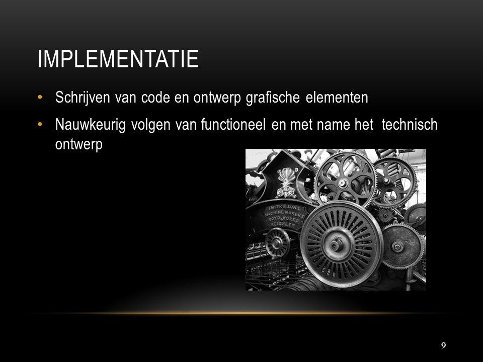 IMPLEMENTATIE 9 Schrijven van code en ontwerp grafische elementen Nauwkeurig volgen van functioneel en met name het technisch ontwerp
