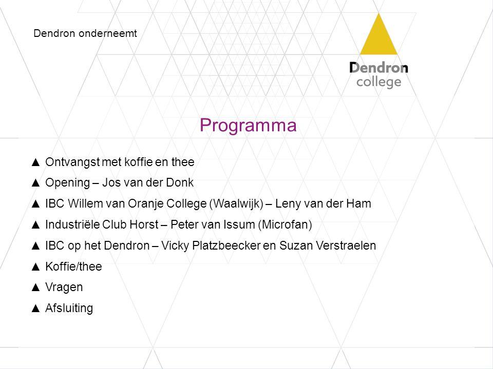 Programma ▲Ontvangst met koffie en thee ▲Opening – Jos van der Donk ▲IBC Willem van Oranje College (Waalwijk) – Leny van der Ham ▲Industriële Club Hor