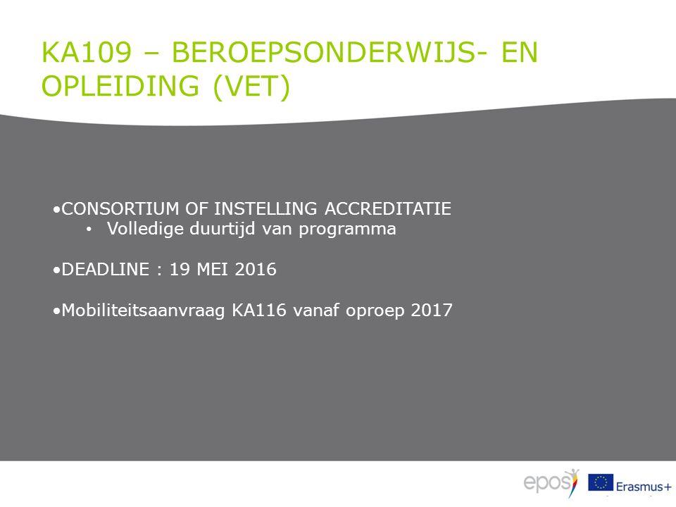 KA109 – BEROEPSONDERWIJS- EN OPLEIDING (VET) CONSORTIUM OF INSTELLING ACCREDITATIE Volledige duurtijd van programma DEADLINE : 19 MEI 2016 Mobiliteitsaanvraag KA116 vanaf oproep 2017