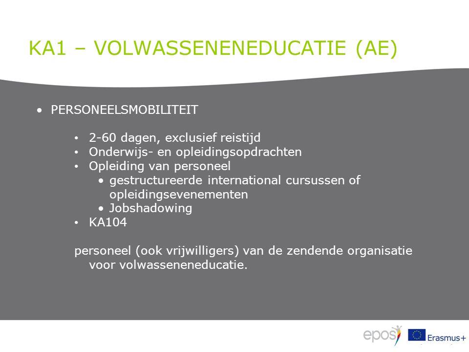 KA1 – VOLWASSENENEDUCATIE (AE) PERSONEELSMOBILITEIT 2-60 dagen, exclusief reistijd Onderwijs- en opleidingsopdrachten Opleiding van personeel gestruct