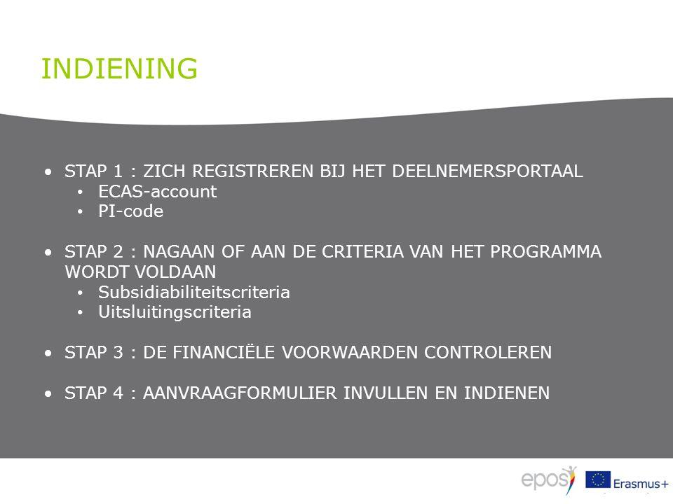 INDIENING STAP 1 : ZICH REGISTREREN BIJ HET DEELNEMERSPORTAAL ECAS-account PI-code STAP 2 : NAGAAN OF AAN DE CRITERIA VAN HET PROGRAMMA WORDT VOLDAAN Subsidiabiliteitscriteria Uitsluitingscriteria STAP 3 : DE FINANCIËLE VOORWAARDEN CONTROLEREN STAP 4 : AANVRAAGFORMULIER INVULLEN EN INDIENEN