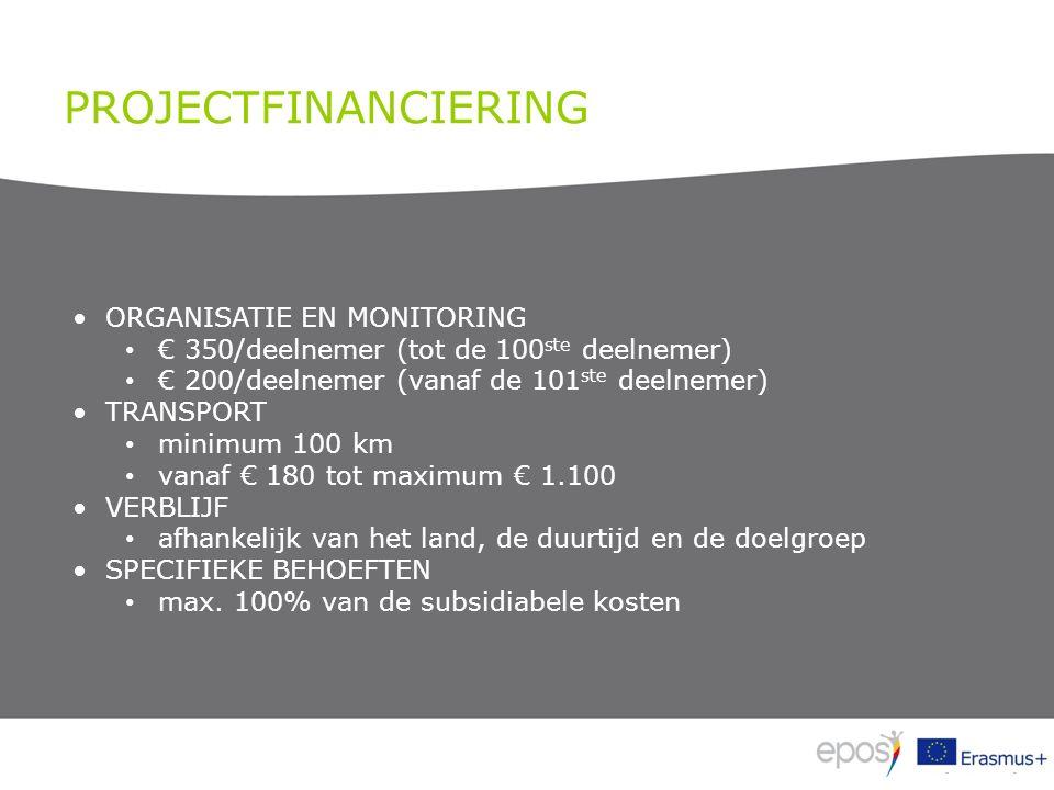 PROJECTFINANCIERING ORGANISATIE EN MONITORING € 350/deelnemer (tot de 100 ste deelnemer) € 200/deelnemer (vanaf de 101 ste deelnemer) TRANSPORT minimu