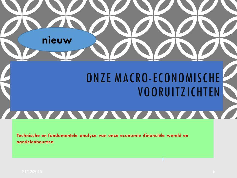 ONZE MACRO-ECONOMISCHE VOORUITZICHTEN Technische en fundamentele analyse van onze economie ;financiële wereld en aandelenbeurzen 21/12/20155 nieuw