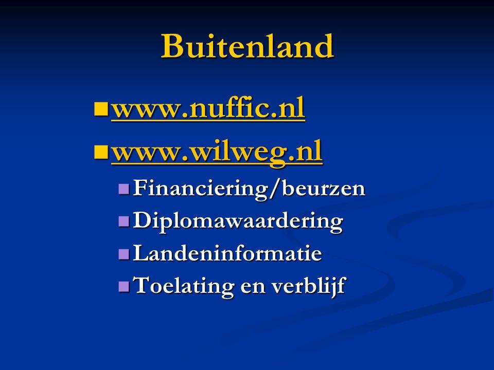 Buitenland www.nuffic.nl www.nuffic.nl www.nuffic.nl www.wilweg.nl www.wilweg.nl Financiering/beurzen Financiering/beurzen Diplomawaardering Diplomawa