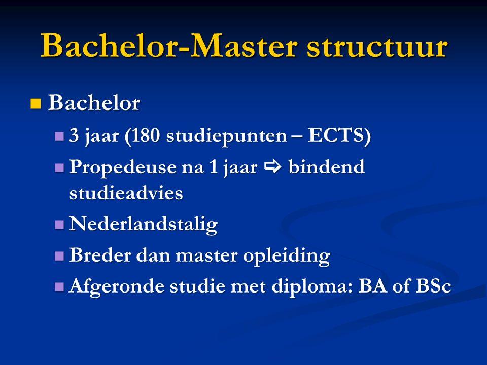 Bachelor-Master structuur Bachelor Bachelor 3 jaar (180 studiepunten – ECTS) 3 jaar (180 studiepunten – ECTS) Propedeuse na 1 jaar  bindend studieadv