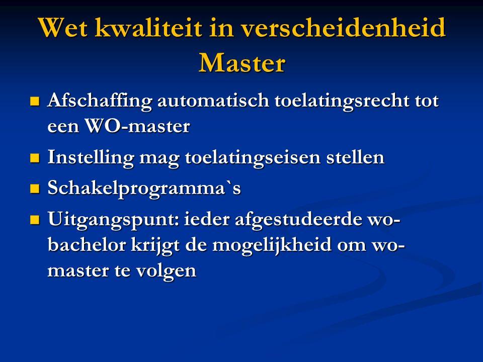 Wet kwaliteit in verscheidenheid Master Afschaffing automatisch toelatingsrecht tot een WO-master Afschaffing automatisch toelatingsrecht tot een WO-m