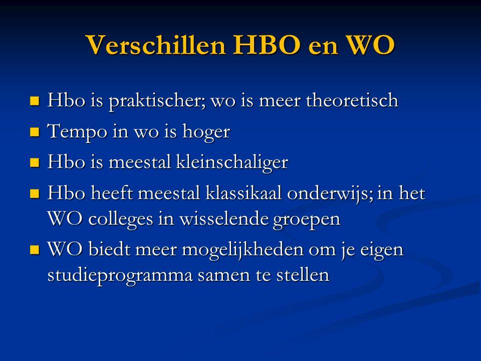 Verschillen HBO en WO Hbo is een beroepsopleiding; WO leidt niet op voor een specifiek vak Hbo is een beroepsopleiding; WO leidt niet op voor een specifiek vak Specieke hbo studies bv.