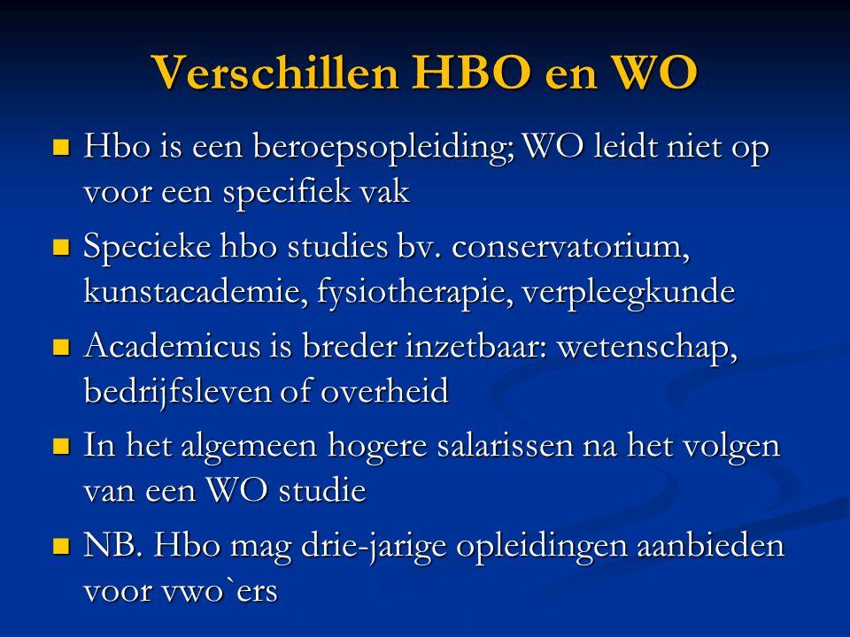 Verschillen HBO en WO Hbo is een beroepsopleiding; WO leidt niet op voor een specifiek vak Hbo is een beroepsopleiding; WO leidt niet op voor een spec