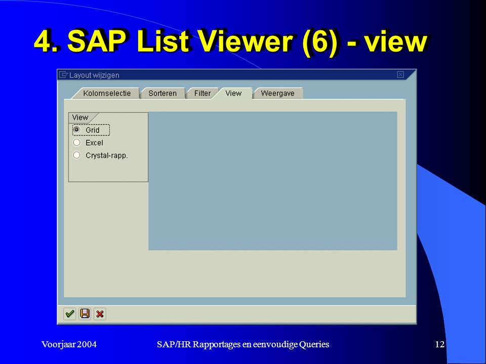 Voorjaar 2004SAP/HR Rapportages en eenvoudige Queries12 4. SAP List Viewer (6) - view