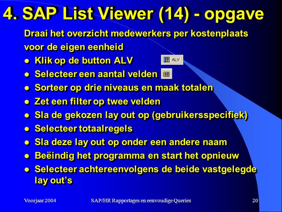 Voorjaar 2004SAP/HR Rapportages en eenvoudige Queries20 4.
