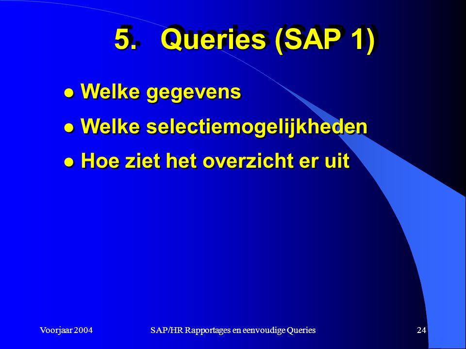 Voorjaar 2004SAP/HR Rapportages en eenvoudige Queries24 5.Queries (SAP 1) l Welke gegevens l Welke selectiemogelijkheden l Hoe ziet het overzicht er uit l Welke gegevens l Welke selectiemogelijkheden l Hoe ziet het overzicht er uit
