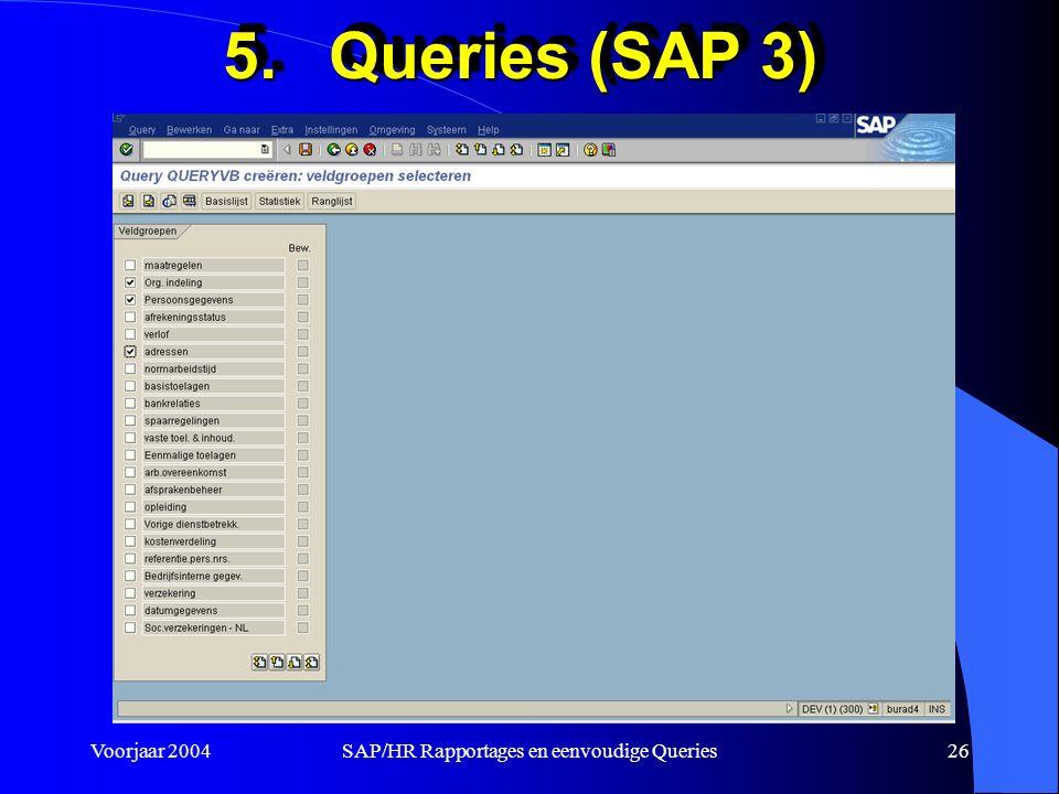 Voorjaar 2004SAP/HR Rapportages en eenvoudige Queries26 5.Queries (SAP 3)