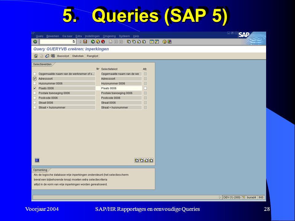 Voorjaar 2004SAP/HR Rapportages en eenvoudige Queries28 5.Queries (SAP 5)