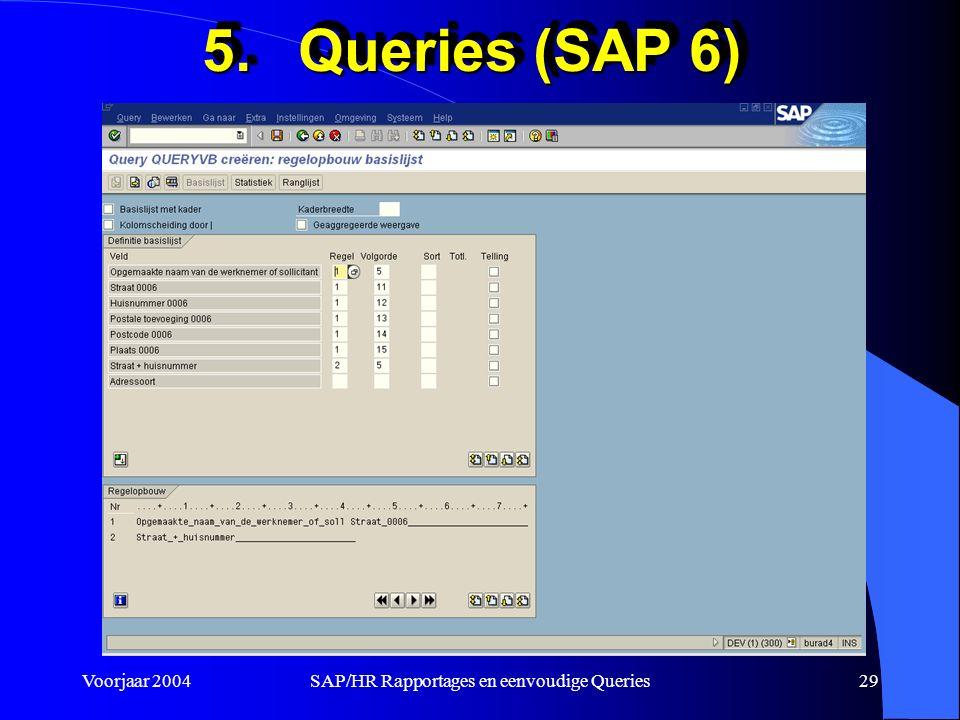 Voorjaar 2004SAP/HR Rapportages en eenvoudige Queries29 5.Queries (SAP 6)
