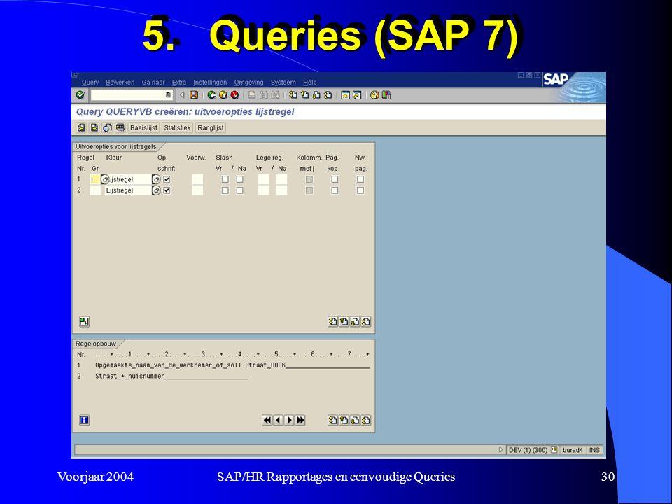 Voorjaar 2004SAP/HR Rapportages en eenvoudige Queries30 5.Queries (SAP 7)