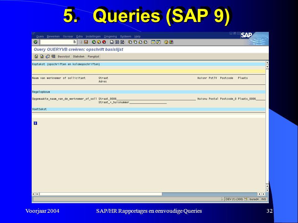 Voorjaar 2004SAP/HR Rapportages en eenvoudige Queries32 5.Queries (SAP 9)