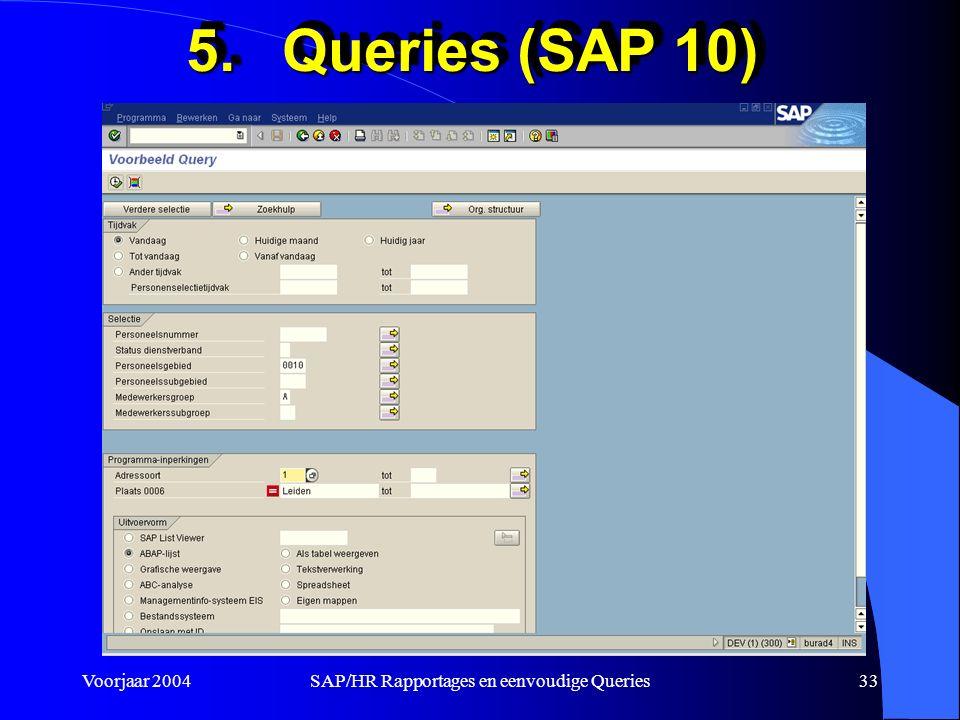 Voorjaar 2004SAP/HR Rapportages en eenvoudige Queries33 5.Queries (SAP 10)