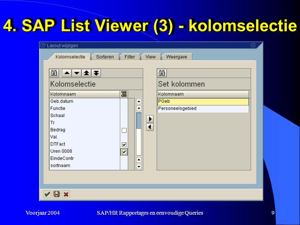 Voorjaar 2004SAP/HR Rapportages en eenvoudige Queries9 4. SAP List Viewer (3) - kolomselectie