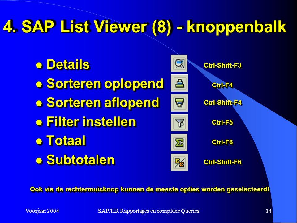 Voorjaar 2004SAP/HR Rapportages en complexe Queries14 4.