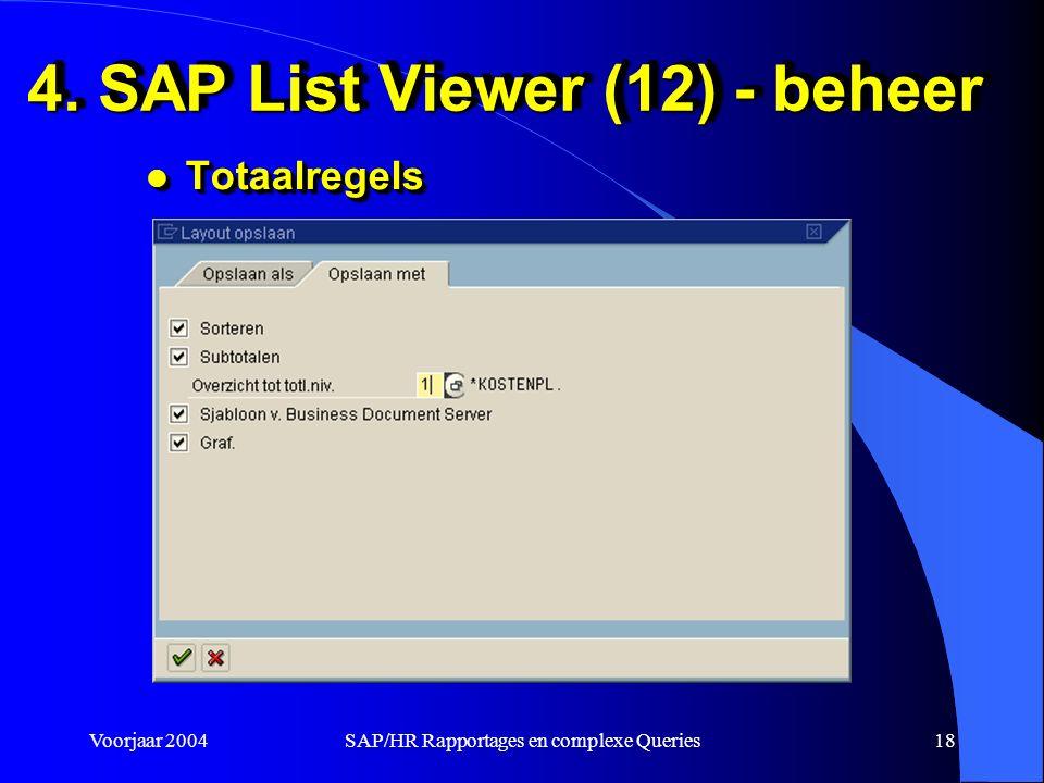 Voorjaar 2004SAP/HR Rapportages en complexe Queries18 4.